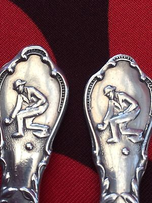 Solid Silver Pair Of Crown Green Bowling Tea Spoons