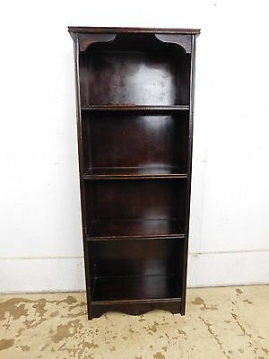 1940s Antique Vintage Solid Dark Finished Walnut Open Arched Bookcase Shelf Unit