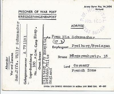 GB POW Hospital Card to Germany 1946