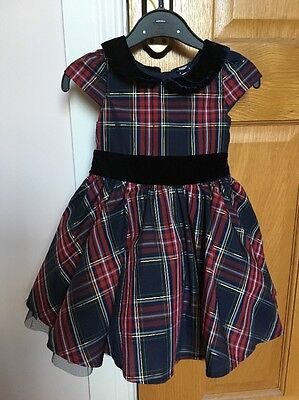 Girls 9-12 Months Party Navy Blue Check/Plaid/Tartan Style Dress