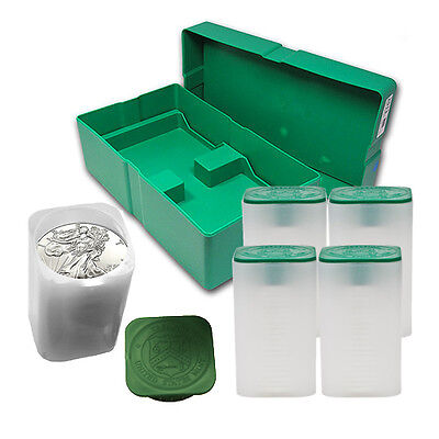 5 Rolls (100 coins) Silver American Eagles-1oz silver coins w/ FREE Monster Box