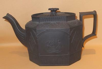 Admiral Lord Nelson & Admiral Howe Commemorative Black Basalt Teapot C1805