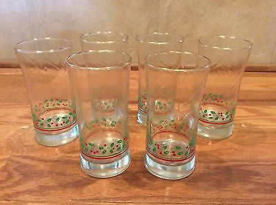 """6 Arby's Christmas Collection 1987 Holly & Berry Glasses Tumblers  6"""""""
