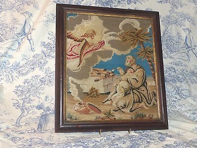 """ANTIQUE VICTORIAN RELIGIOUS WOOLWORK TAPESTRY - """" Stop Abraham """"  ORIG FRAME"""