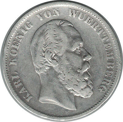 5 Mark 1876 F Wurttemberg Germany Silver Coin