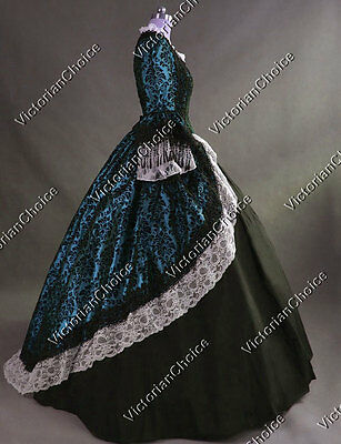 Colonial Renaissance Princess Brocade Gown Dress Theater Steampunk Outfit 164 S
