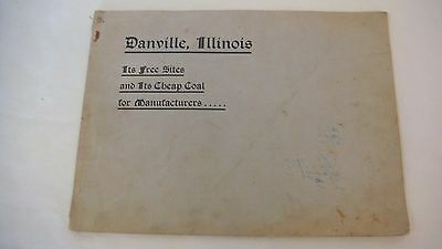 1906 Danville Illinois Maps Photos Railroad Frisco Coal Historical Linen Booklet