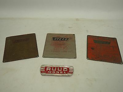 Lot Of 3 Stero Dishwasher Plaques + Rudd Monel Plaque
