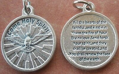 """Come Holy Spirit Medal Charm Pendant 3/4"""" + with Fill the Hearts prayer on back"""