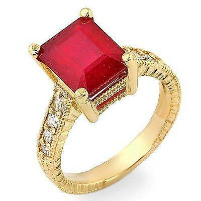 Estate ring 3.20 ct natural ruby and diamond 14k gold