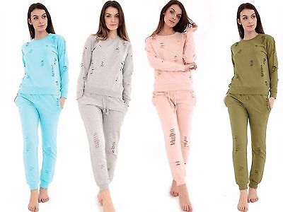 Womens Ladies Distressed Ripped Round Neck  Lounge Sweatshirt Set  Track-Suit