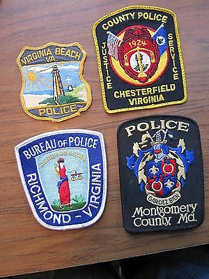 Lot of 4 Virginia and Maryland Police Patches  Richmond, Virginia Beach, + 2