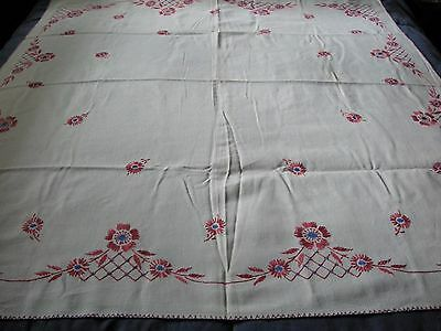 """Vintage Tablecloth W/Embroidery Edge & Flowers About 54 x 48 1/2"""""""