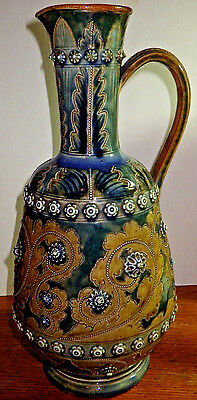 "Royal Doulton George Tinworth Rare Lambeth Stoneware Handled Jug 13"" High"
