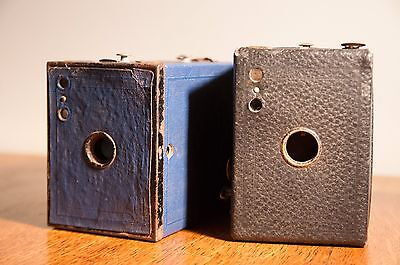 Two Kodak Box Cameras (One Canadian, other No2 Brownie in Blue)