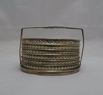 Vintage Sterling Silver Set of 6 Cut Glass Coasters with Sterling Holder