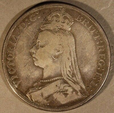 1889 Great Britain Crown Silver Circulated            ** FREE U.S. SHIPPING **