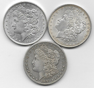 3, Silver Morgan Dollars, 1891-P, 1891-O, & 1891-S