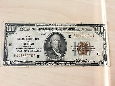 Series 1929 $100 Federal Reserve Bank of Richmond, VA