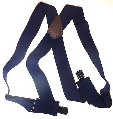 "Mens's 2"" Dark Blue Side Clip Suspenders. Elastic, 48"", SF"
