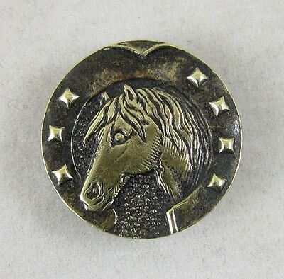 Antique Vintage Picture Button~ Horse Head in Horseshoe Border~ Paris Back-Mark