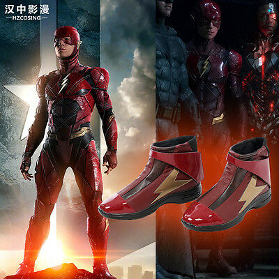 HZYM Justice League The Flash Barry Allen Cosplay Boots Shoes Custom Made