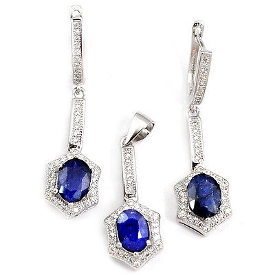 Natural blue sapphire white topaz 925 silver pendant earrings set jewelry a15132