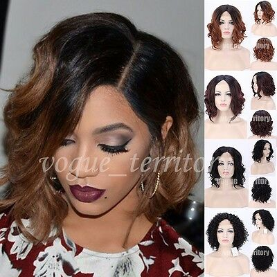 Short Bob Wavy Hair Glueless Lace Front Hair Wigs Ombre Blonde Black Hair Wig UK