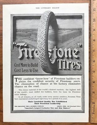 1912 Original Full Page Ad Advertising Firestone Tires