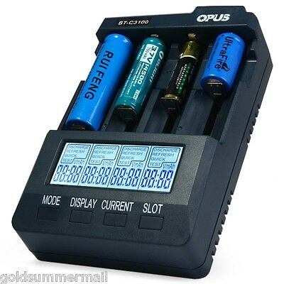 Opus BT-C3100 V2.2 Digital Smart Battery Charger 4 Slots for Li-ion NiCd NiMh US