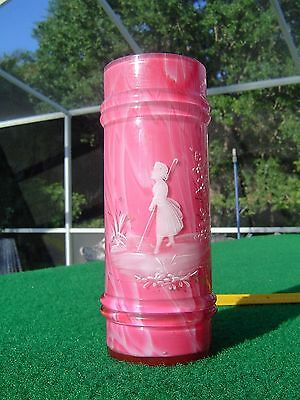 """Antique Victorian Mary Gregory Pink Cased Glass Straw Holder, 6 1/4"""""""