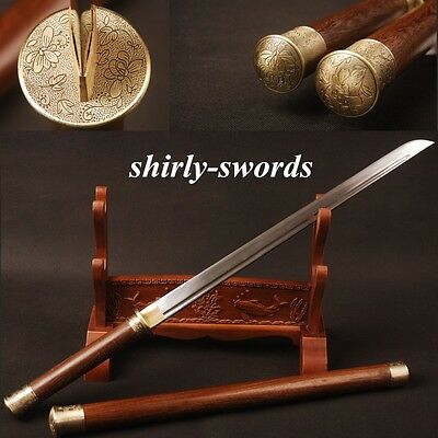"""Hand Polished Chinese Tang Sword Folded Steel """"唐刀"""" Rosewood Saya Engroove Alloy"""