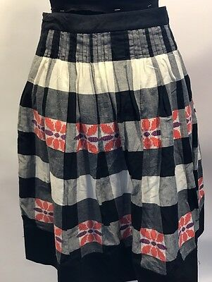 Floreat Anthropologie Black White Pink Purple Checked Floral Full Cotton Skirt 2