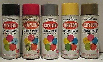 Bargain Lot of 5 Vintage Krylon 1968 Spray Paint Can Old