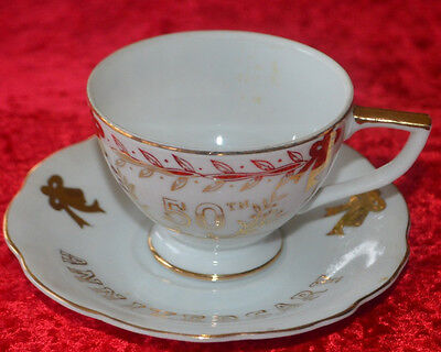 50th Anniversay Lefton China Cup And 2 Saucers Hand Painted
