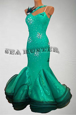 Smooth Competition Ballroom Standard Dance Dress US 6 UK 8 Green Lace Black