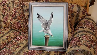 Original Painting Canvas Seagull on Stump Nautical Decor Signed