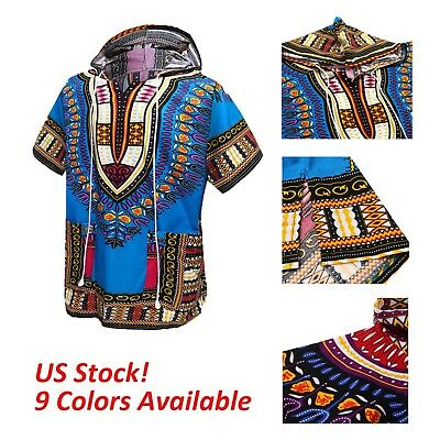 Unisex Mens Women African Dashiki T-Shirts Ethnic Dress Boho HipHop Tops Hoodies