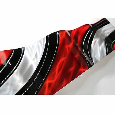 Modern Red Black & Silver Abstract Metal Wall Art Wave Sculpture Accent Decor