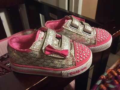 Skechers baby girls shoes twinkle toes size 6.5 pink flower