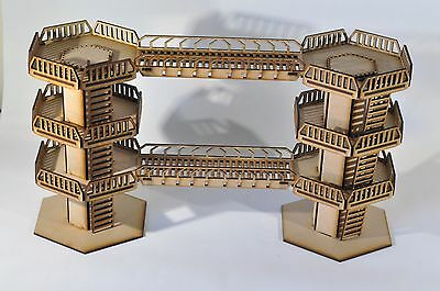 Wargaming scenery - 2x Industrial Tower and 2x Connecting Walkways