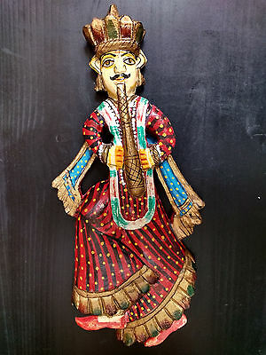Vintage Wooden Hand Carved and Painted Indian Musician Figurine