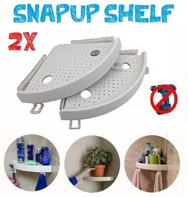 2x Quick Fix Corner Snap Shelf Grip  Up to 4kg Easy wall Bathroom  As Seen on TV