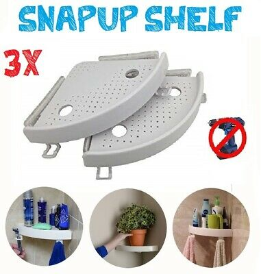 3x Quick Fix Corner Snap Shelf Grip  Up to 4kg Easy wall Bathroom  As Seen on TV