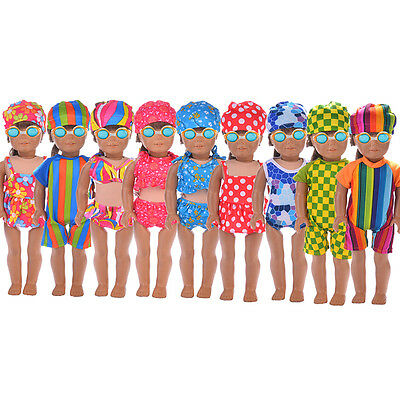 Handmade Doll Summer Swimwear+ Cap Swimsuit Set For 18 Inch Doll Toy Clothes