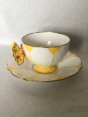 **RARE** Aynsley Yellow 'Butterfly' Cup & Saucer  (Pattern No. B1322)