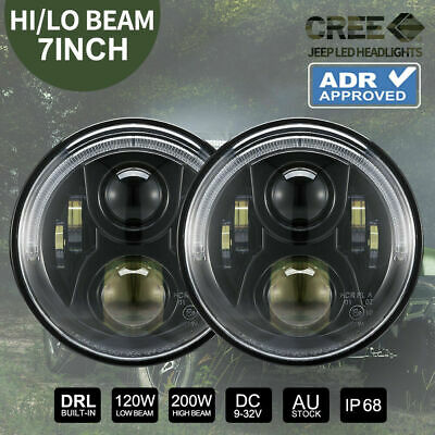 2x 80W 7 inch Round LED Headlights High Low Hi Lo Harley Jeep Wrangler JK 97-16