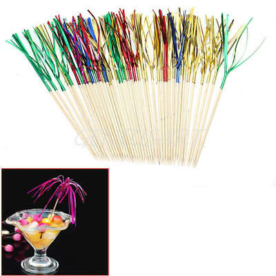 40X Cocktail Sticks Drink Fruit Canapes Decor Picks Ornament Bar Accessories New