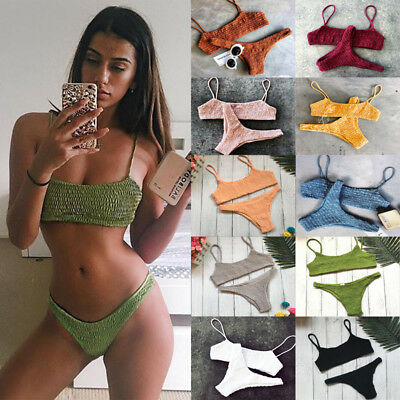 Triangle Swimwear Bathing Padded Bra Bikini Set Swimsuit Women Bandage Push-up