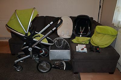 Travel System Silver Cross Surf inc Maxi Cosi car seat and accessories